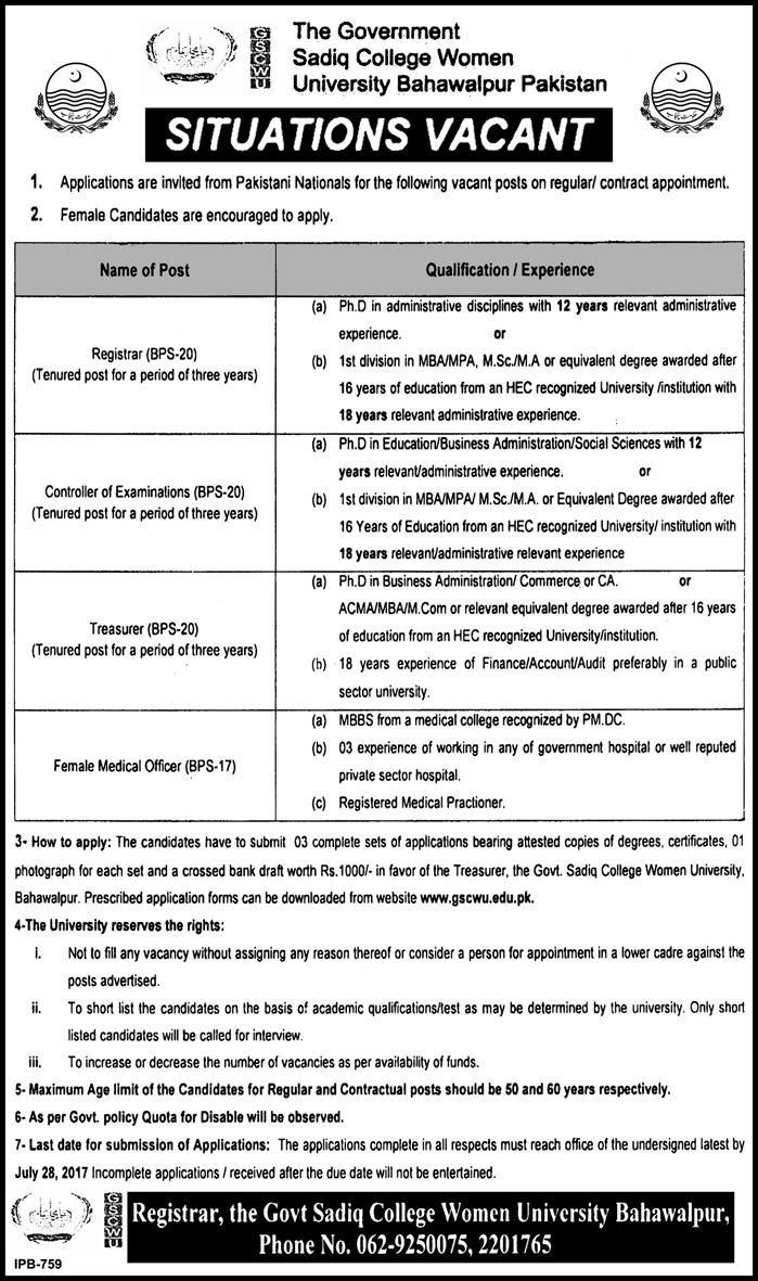 The-Govt-Sadiq-College-Women-University-jobs-08-Jul-2017