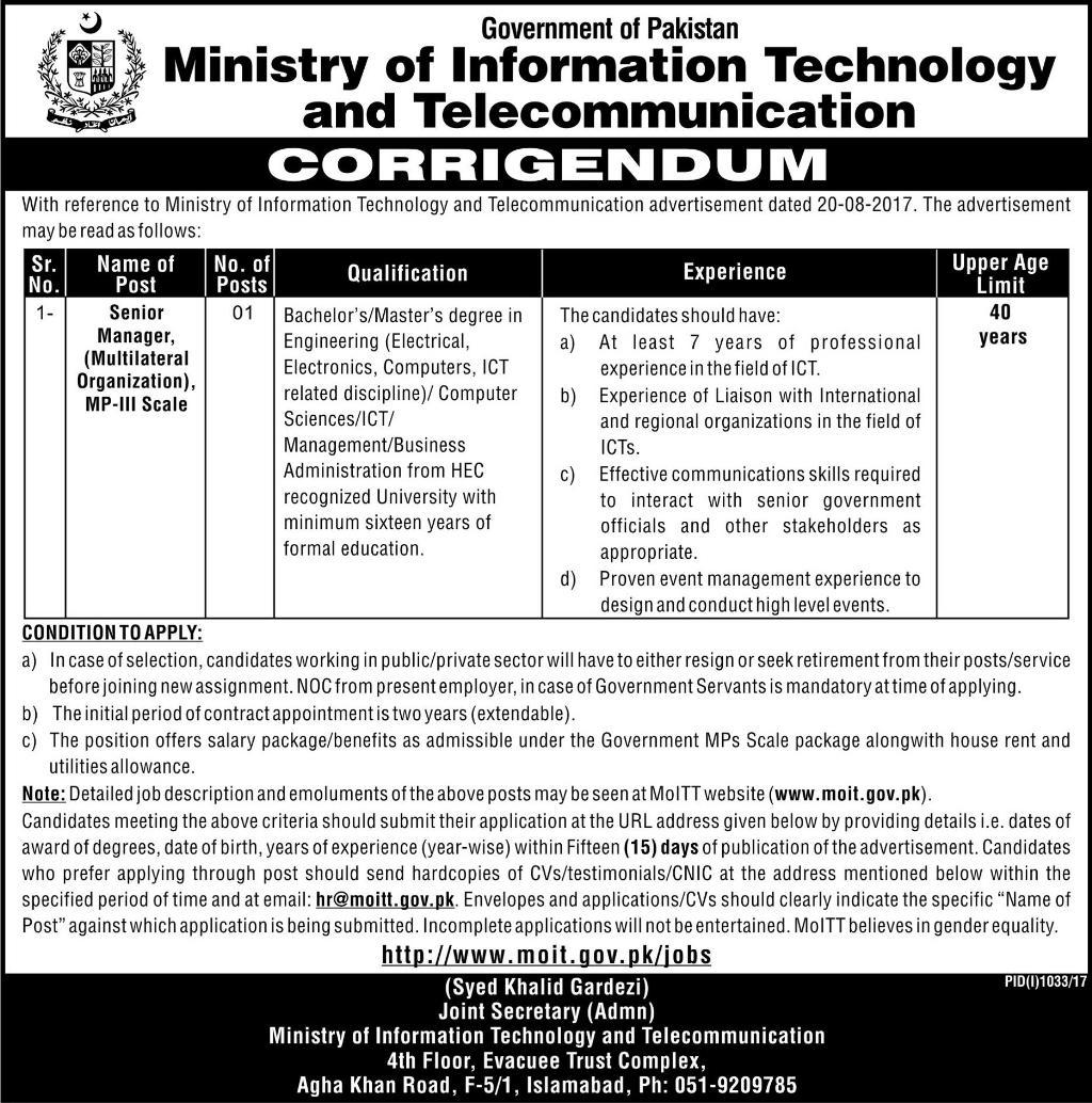 Ministry of Information Technology & Telecommunication Corrigendum Jobs 22-08-2017