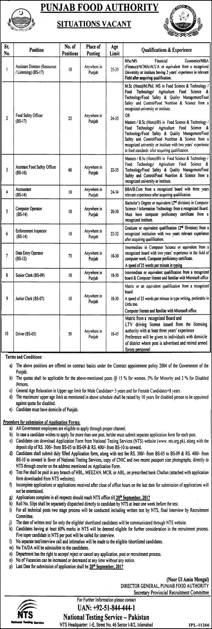 Food Safety Officers, DEO, Drivers jobs in  Punjab-Food-Authority
