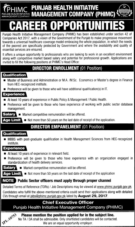Punjab Health Initiative Management Company Jobs 16 Aug 2017