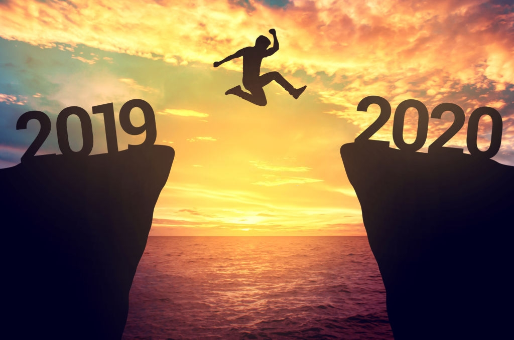 Welcome Jump to Happy New Year 2020 Bye 2019